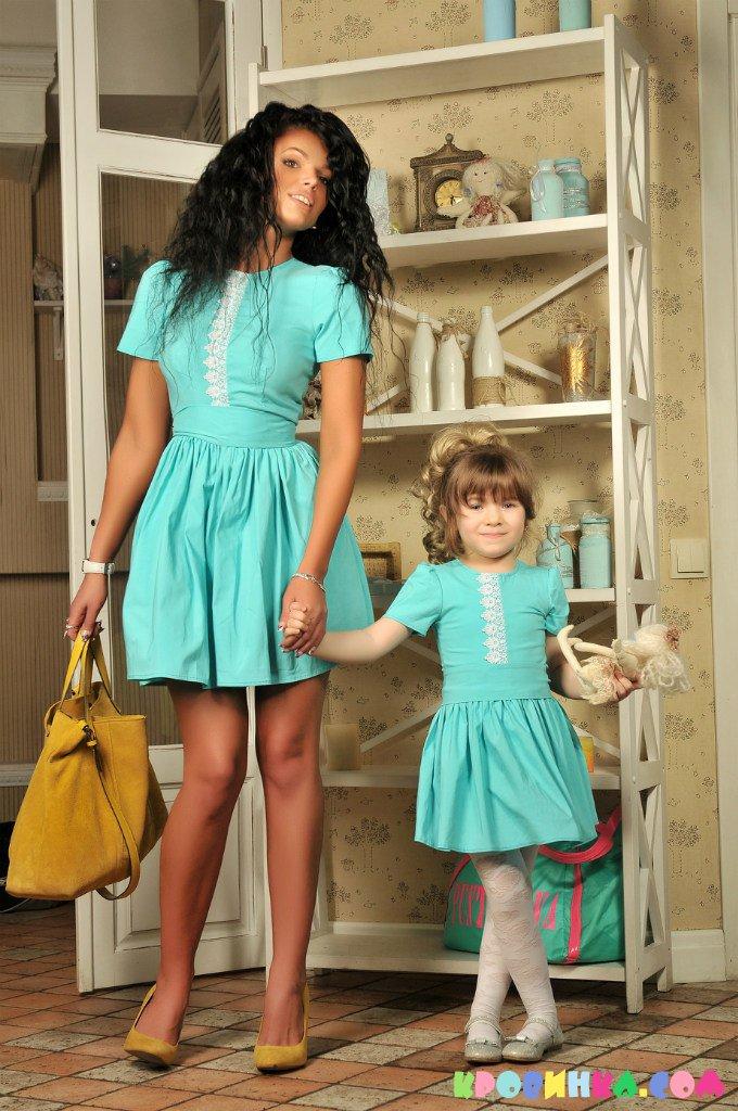 Фасоны платьев для мамы и дочки одинаковые